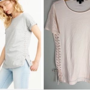 Blush pink Lace up tunic T-shirt